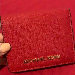 Michael Kors red bid fold wallet authentic new